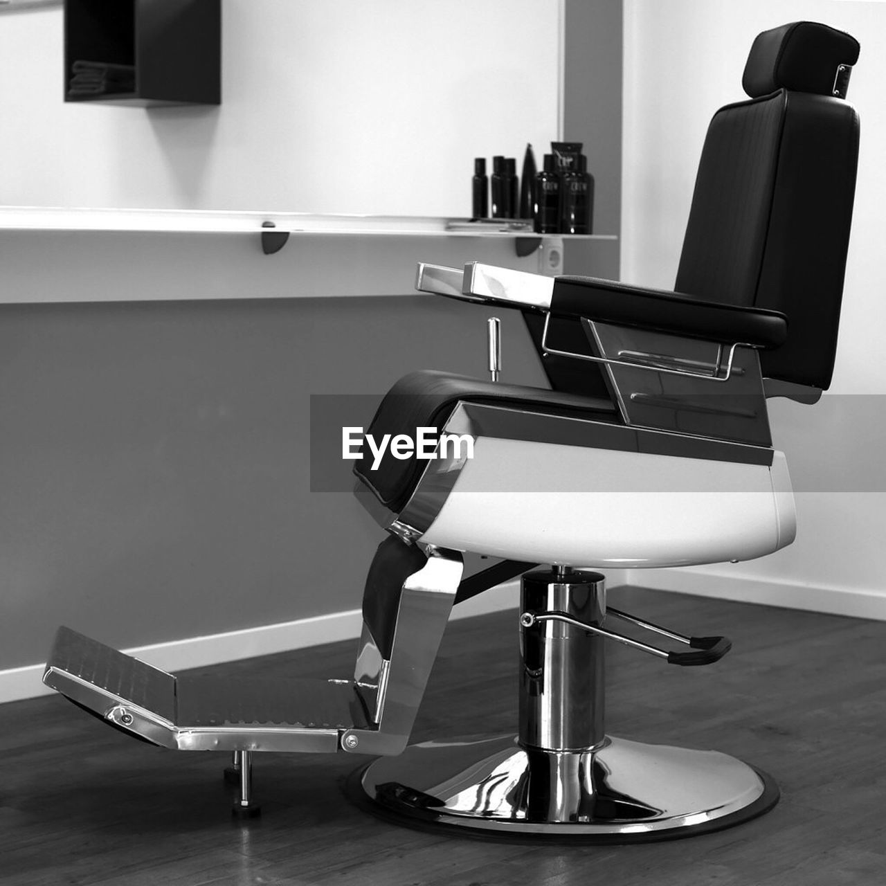 Empty chairs at barber shop