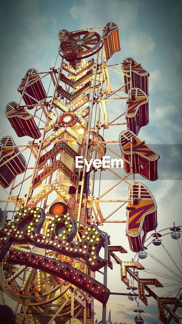 low angle view, arts culture and entertainment, no people, amusement park, amusement park ride, sky, outdoors, day