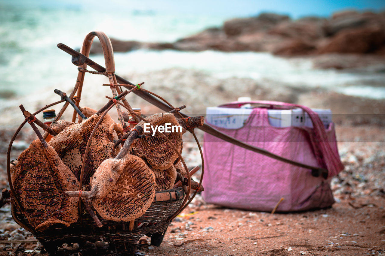 land, beach, focus on foreground, sea, day, no people, water, nature, close-up, container, outdoors, food and drink, food, selective focus, basket, wellbeing, tranquility, freshness, still life