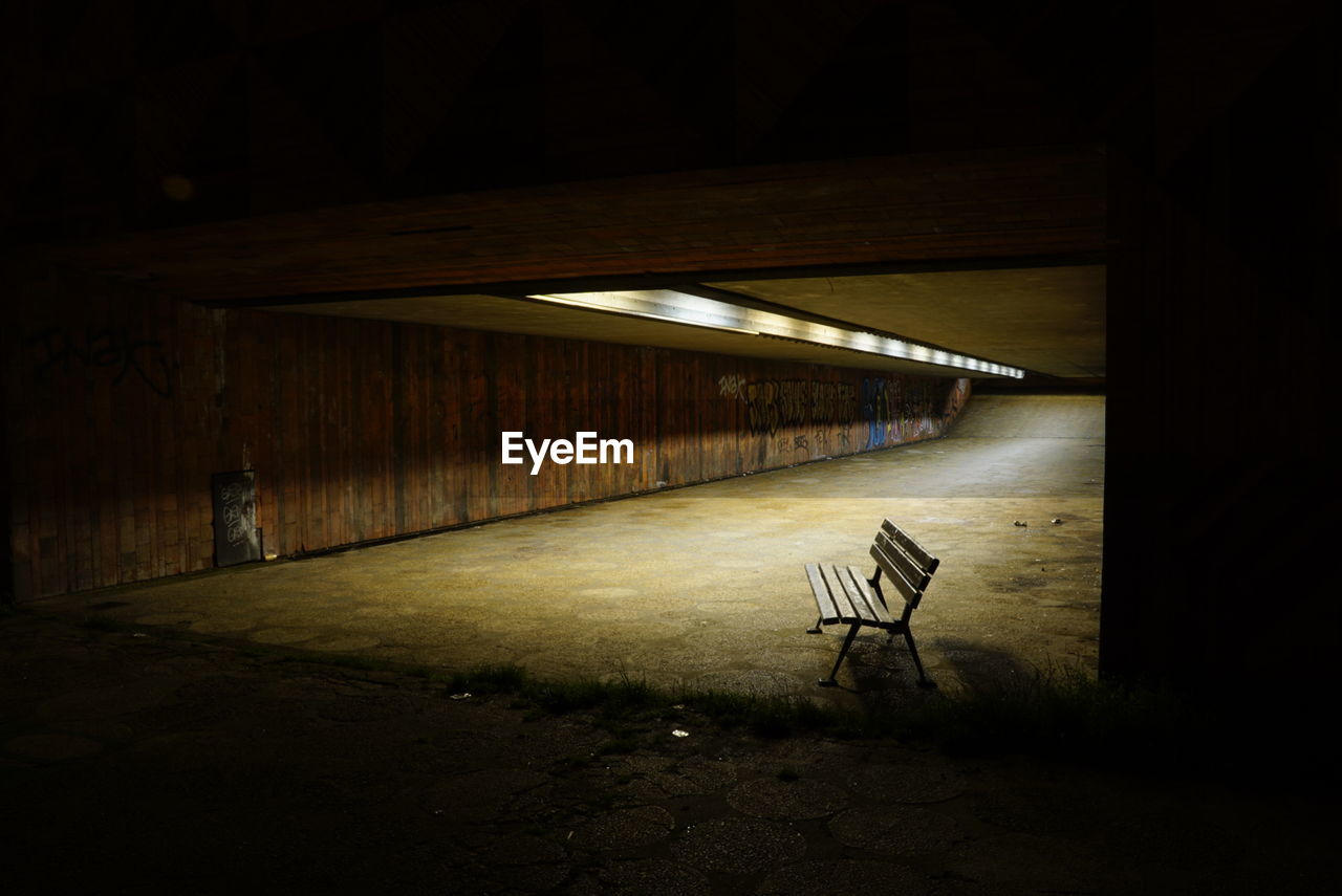 Empty Bench In Tunnel