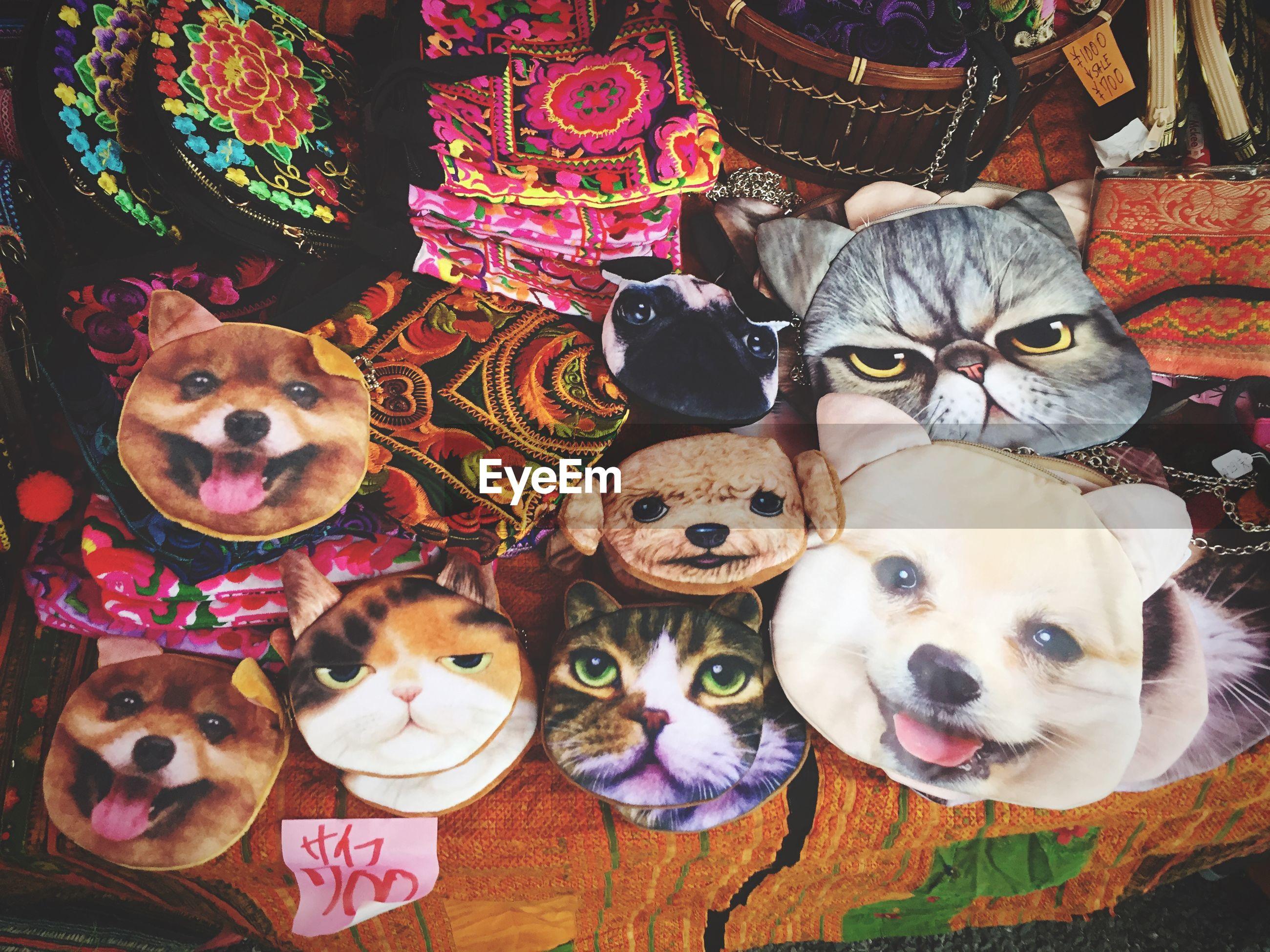 Close-up of animal masks for sale