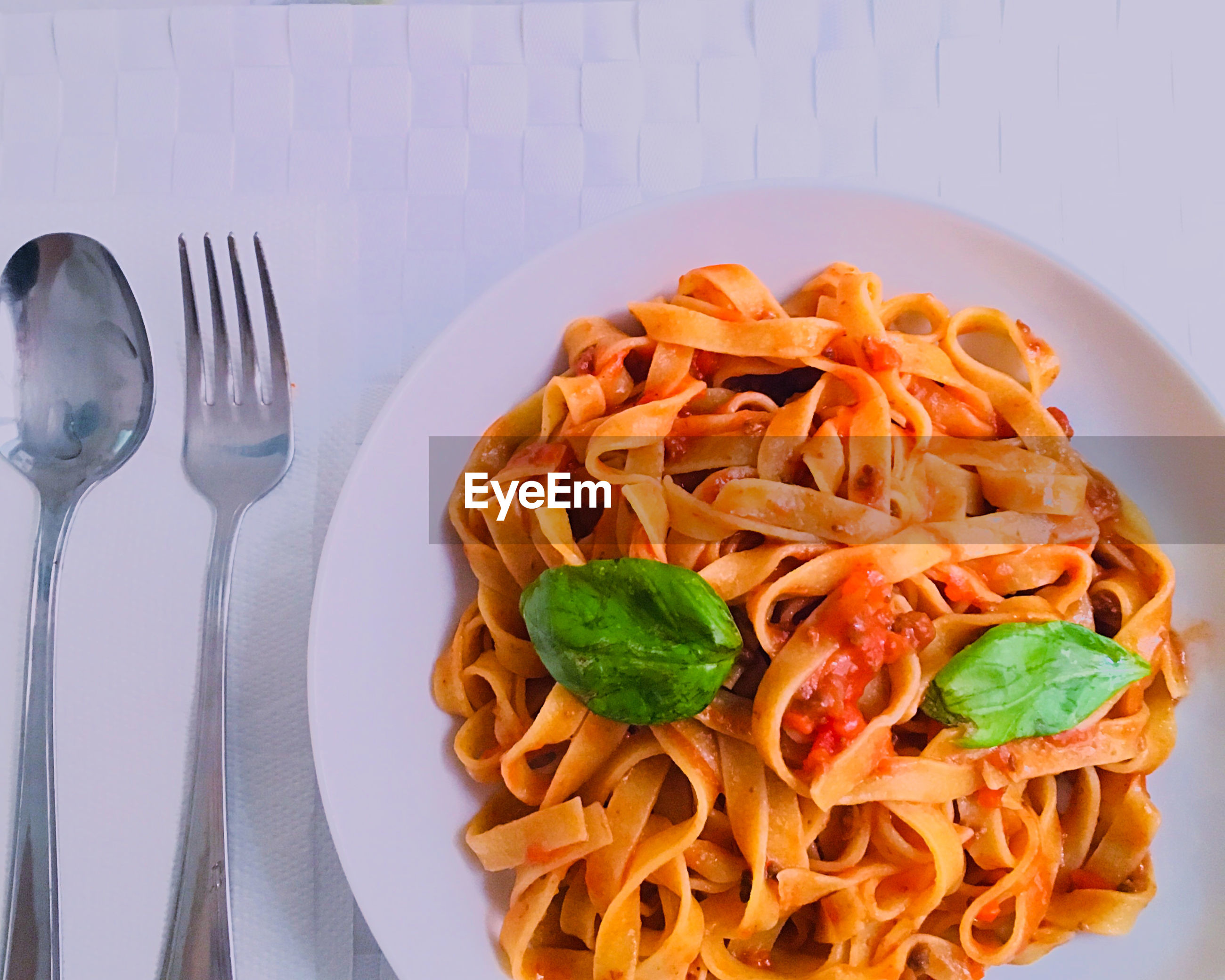 High angle view of pasta served in plate