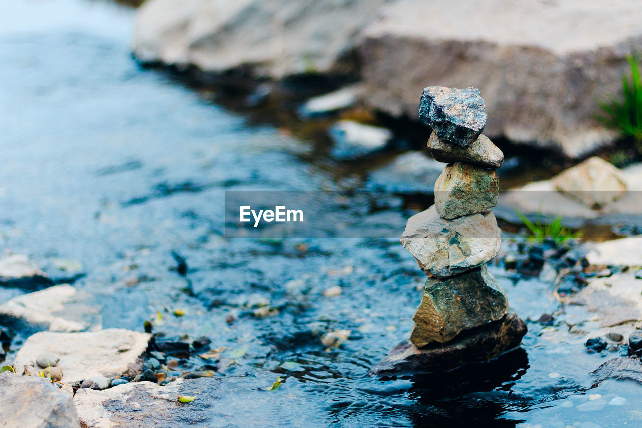 Stack Of Stones In Stream