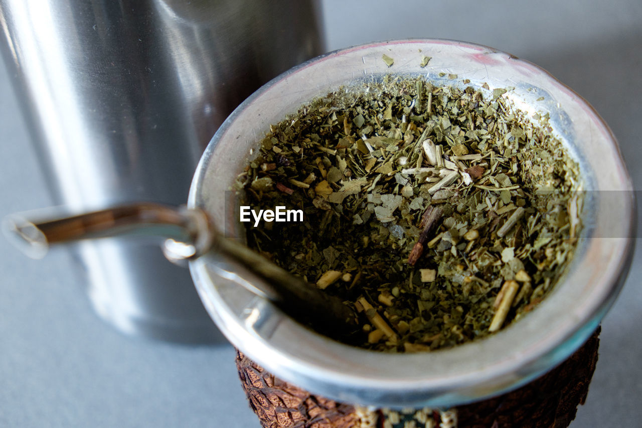 Close-up of tea leaves in bowl