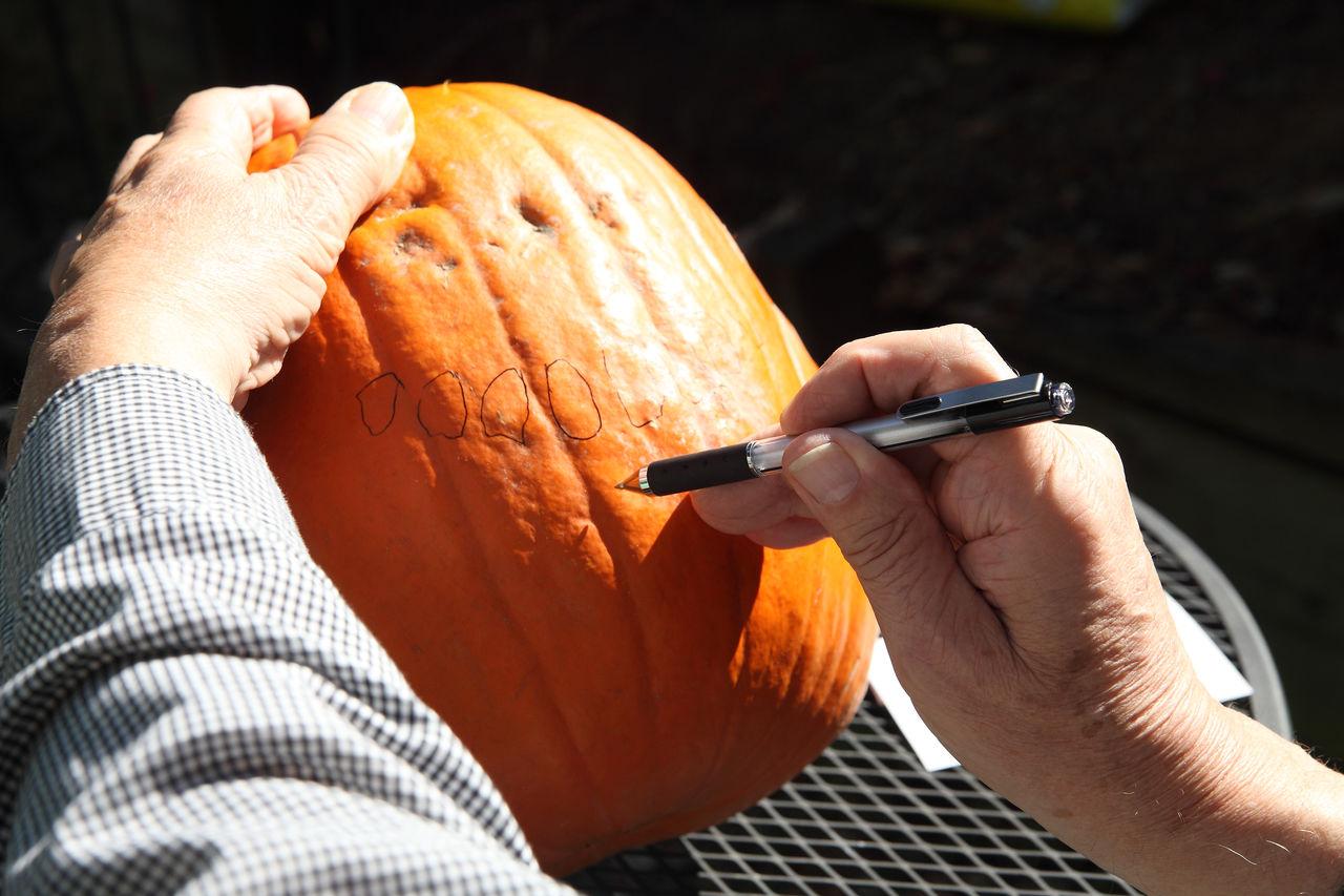 Close-Up Of Writing On Pumpkin