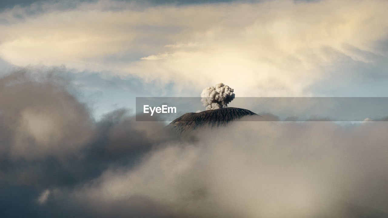 Steam Emitting From Volcanic Mountain