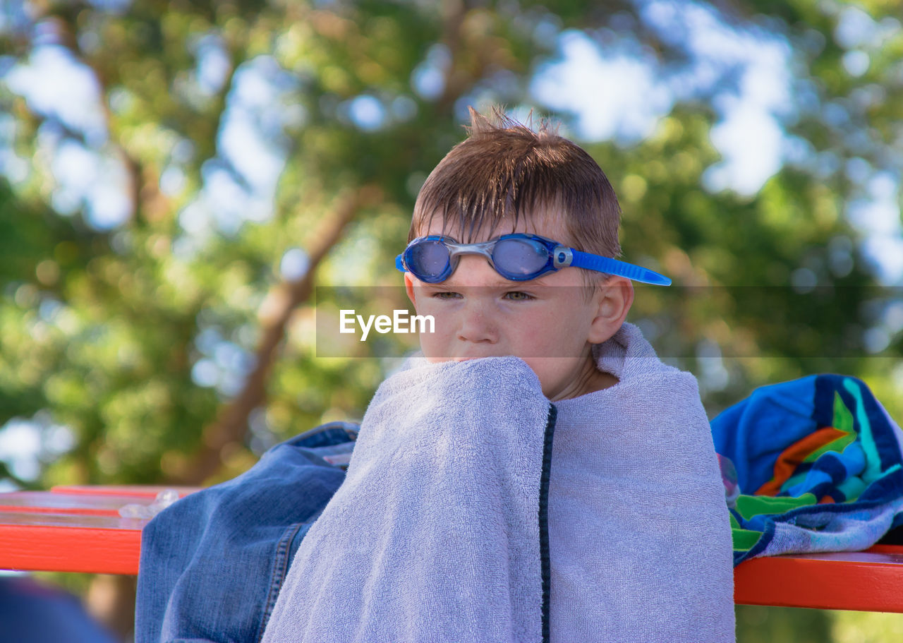 Close-Up Of Boy Wrapped In Towel