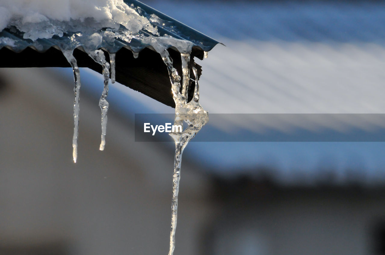 CLOSE-UP OF ICICLES ON ROOF AGAINST SNOW COVERED LANDSCAPE