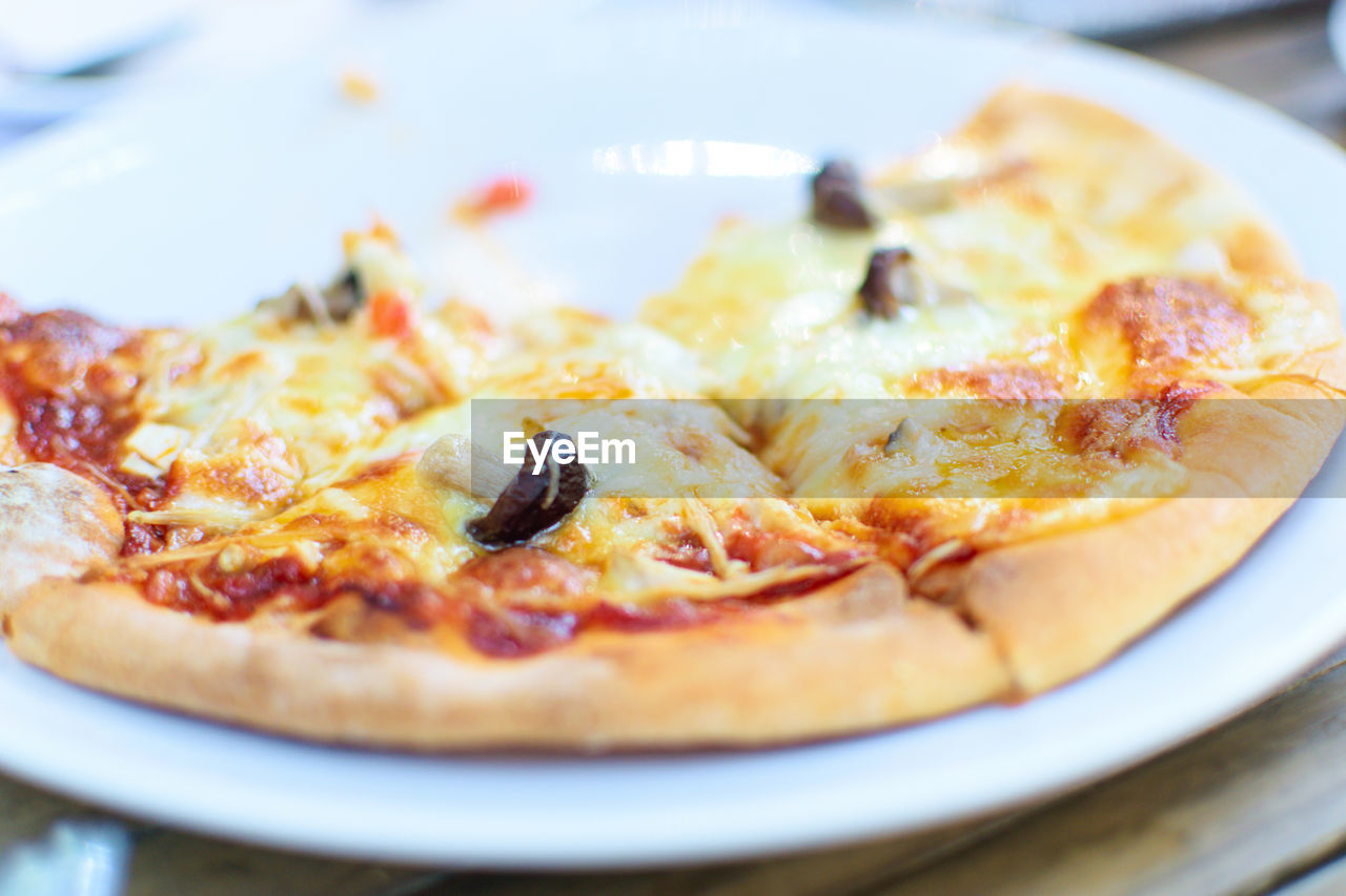 food and drink, food, ready-to-eat, pizza, freshness, plate, still life, close-up, indoors, selective focus, no people, unhealthy eating, table, serving size, italian food, indulgence, dairy product, vegetable, cheese, meal, temptation, vegetarian food, crockery, snack, savory pie