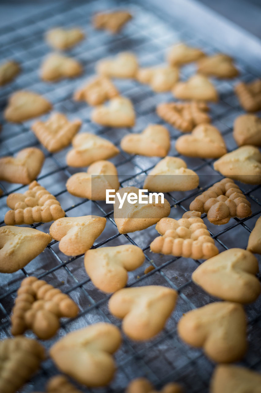 Close-up of cookies on cooling rack in baking sheet