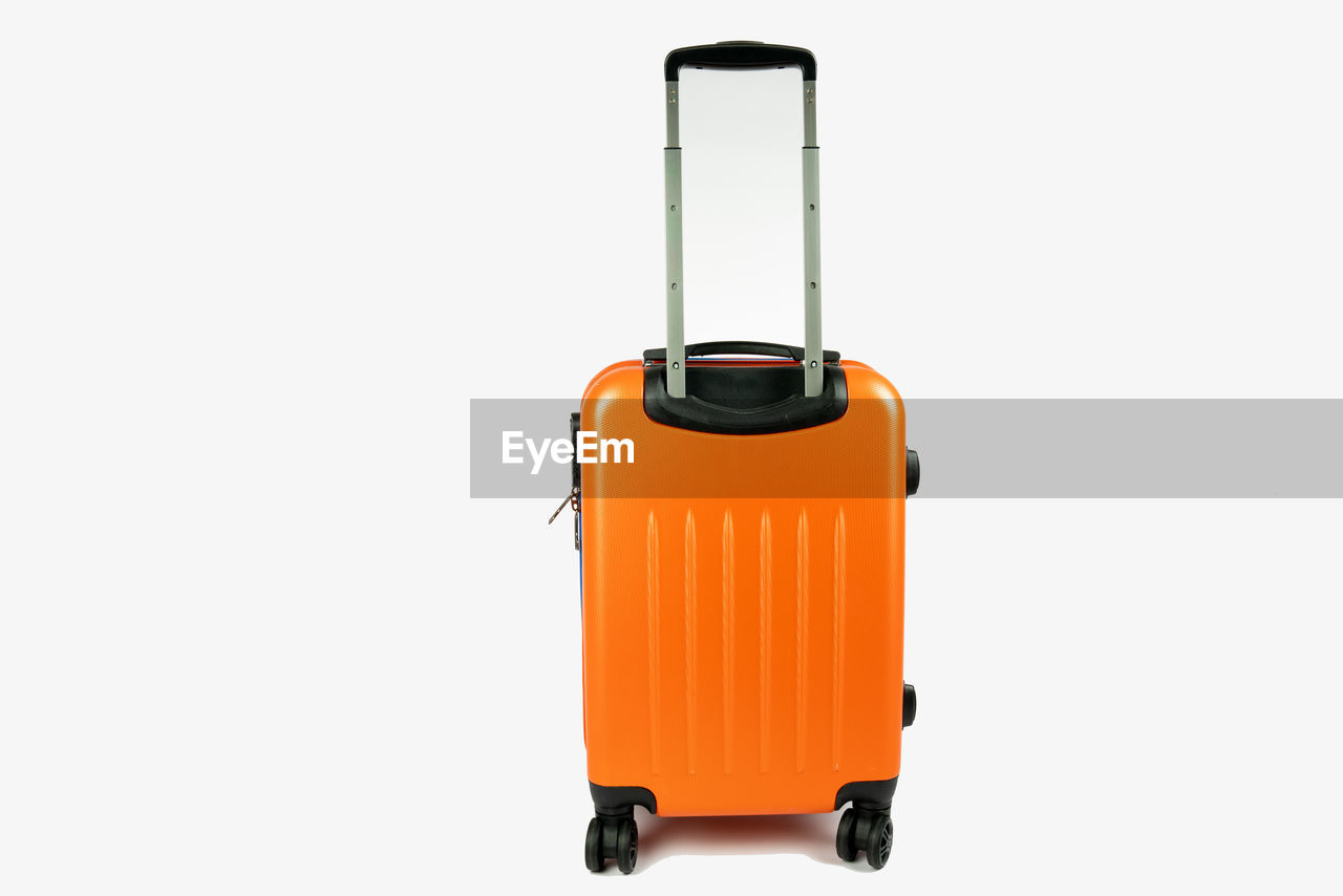 studio shot, indoors, copy space, cut out, single object, white background, orange color, still life, no people, close-up, container, equipment, safety, protection, security, yellow, suitcase, metal, body care, technology