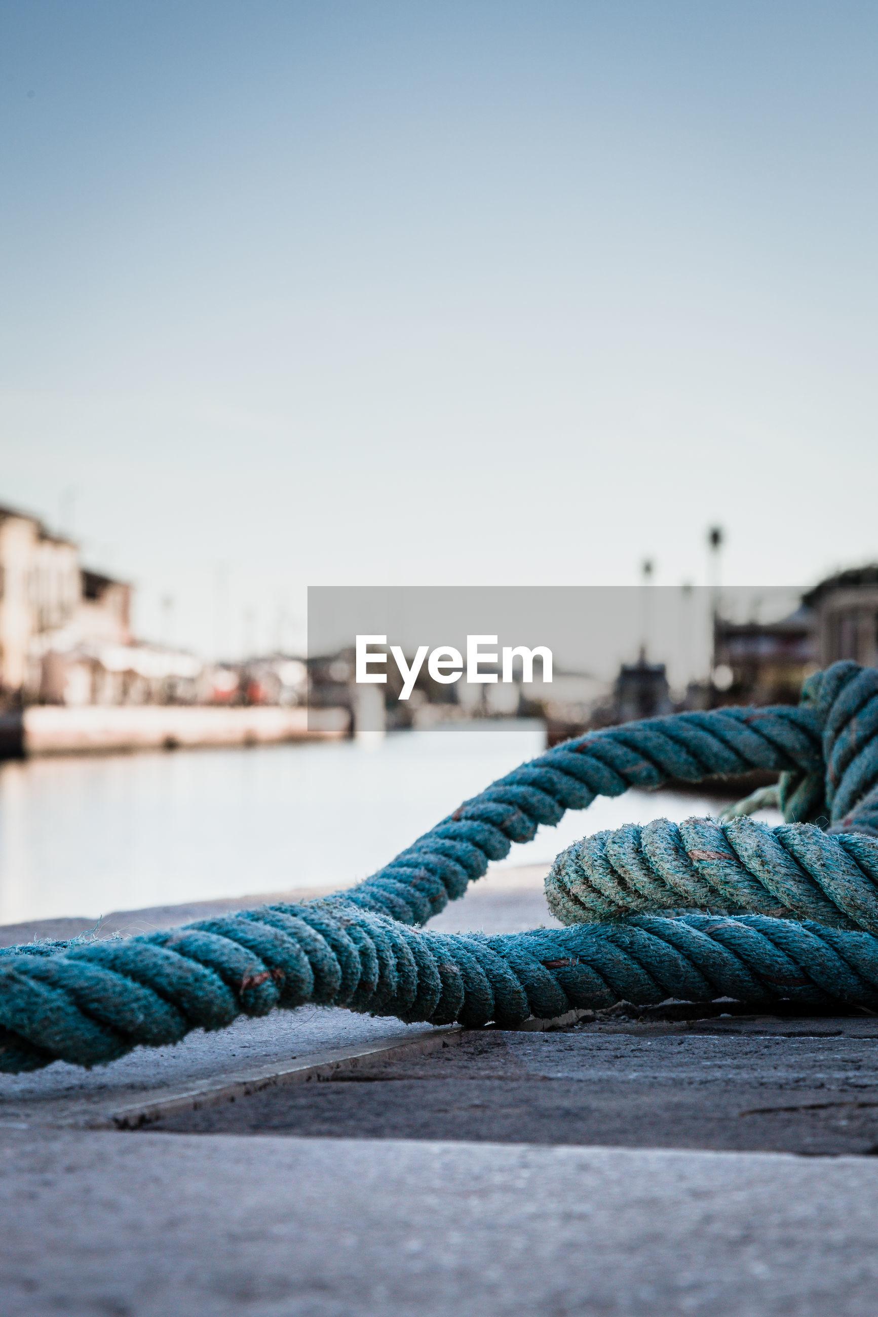 Closeup of the rope against the cesenatico pier