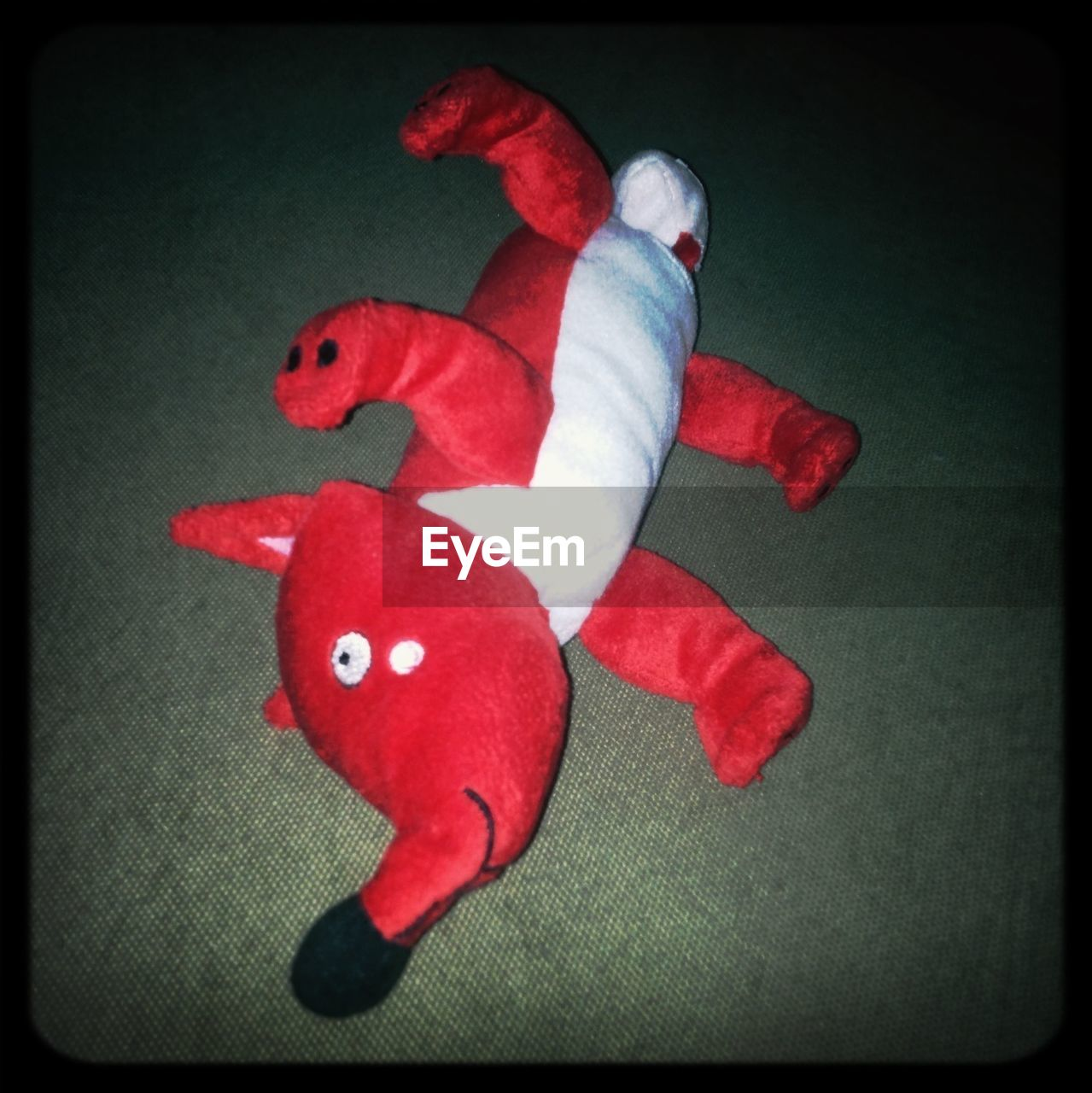 red, indoors, high angle view, no people, stuffed toy, close-up, full length, clown, day