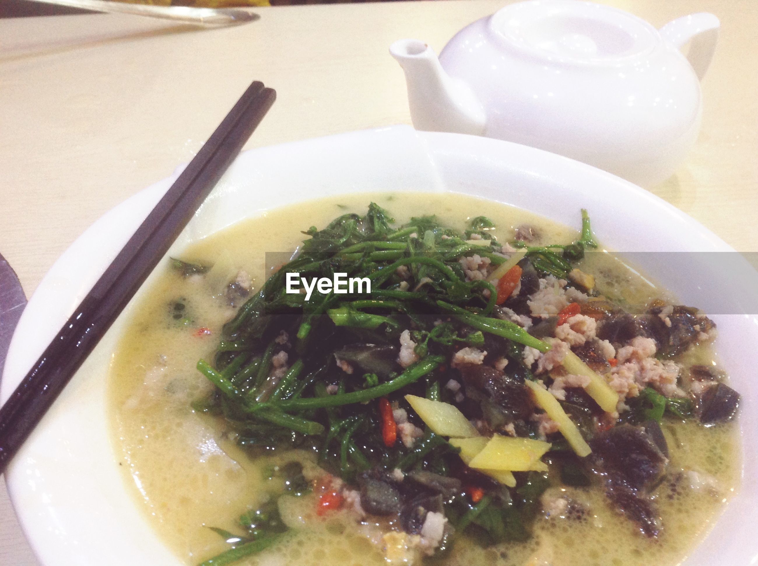 food and drink, food, indoors, freshness, ready-to-eat, healthy eating, bowl, plate, meal, soup, still life, spoon, serving size, table, close-up, high angle view, healthy lifestyle, noodles, indulgence, vegetable