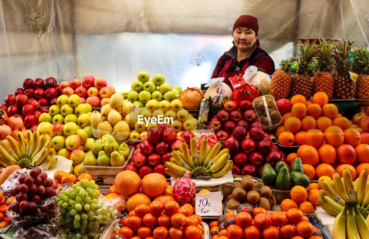Lady at fruitmarket bishkek kyrgyzstan