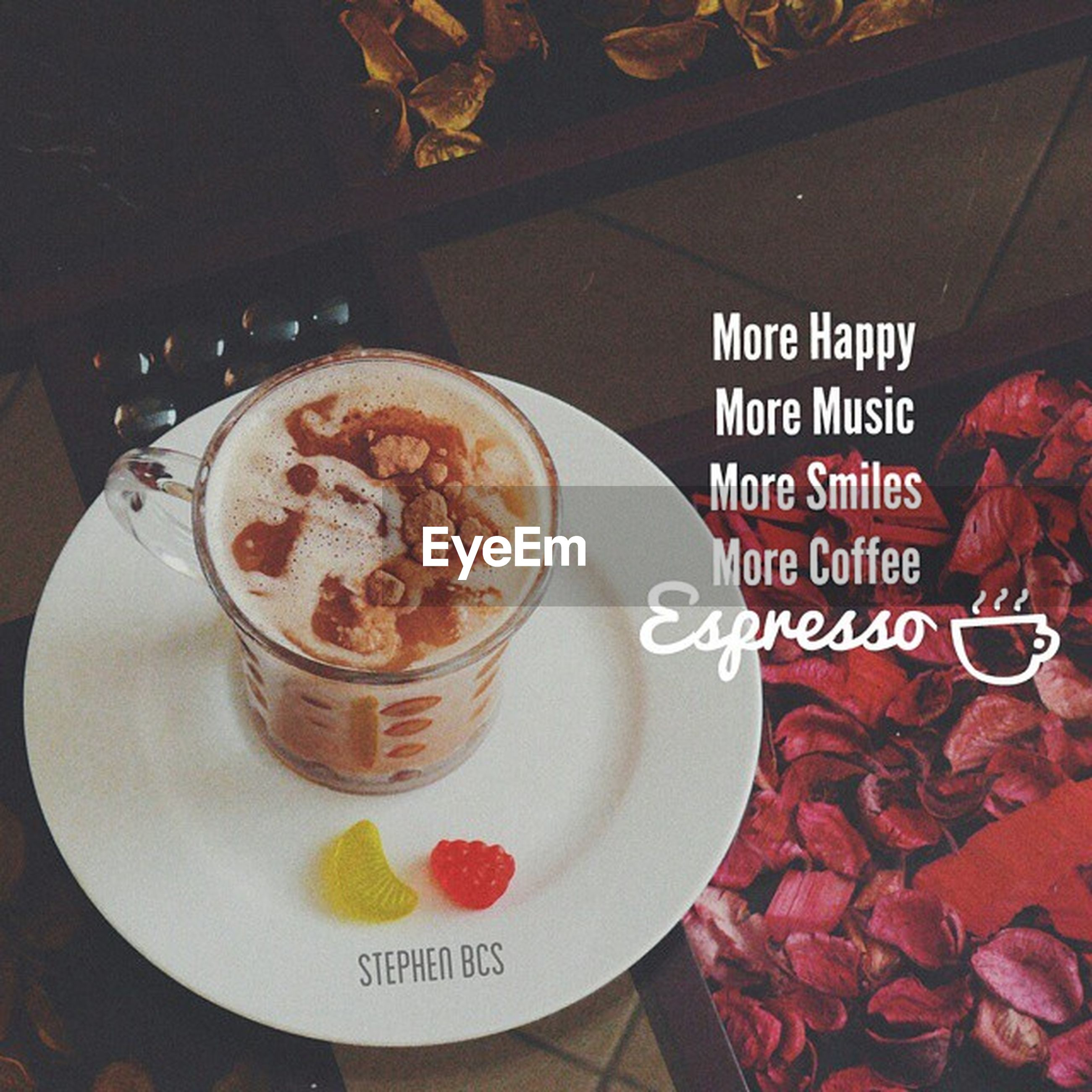 food and drink, text, indoors, western script, freshness, drink, coffee cup, table, communication, coffee - drink, refreshment, food, saucer, still life, high angle view, plate, close-up, cup, coffee, sweet food