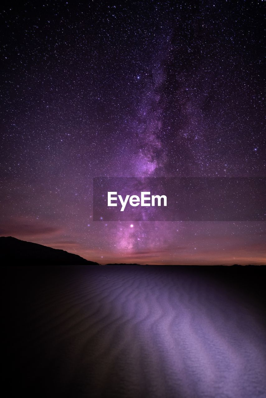 night, sky, space, star - space, water, tranquility, astronomy, scenics - nature, tranquil scene, no people, nature, beauty in nature, purple, galaxy, lake, milky way, star field, outdoors