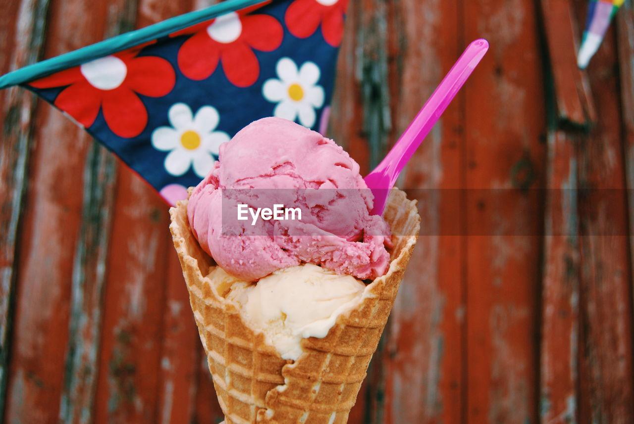Close-up of spoon stuck in ice cream cone
