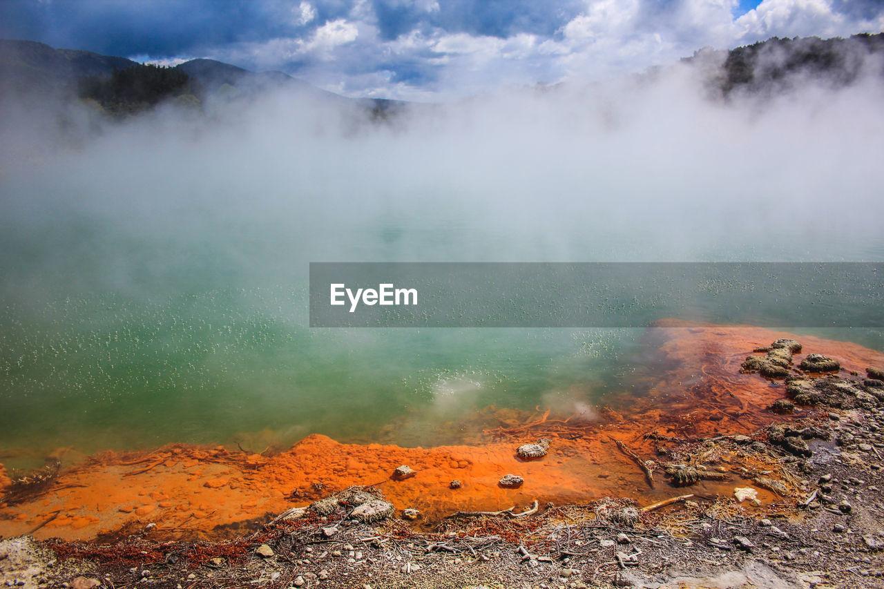 High angle view of volcanic lake