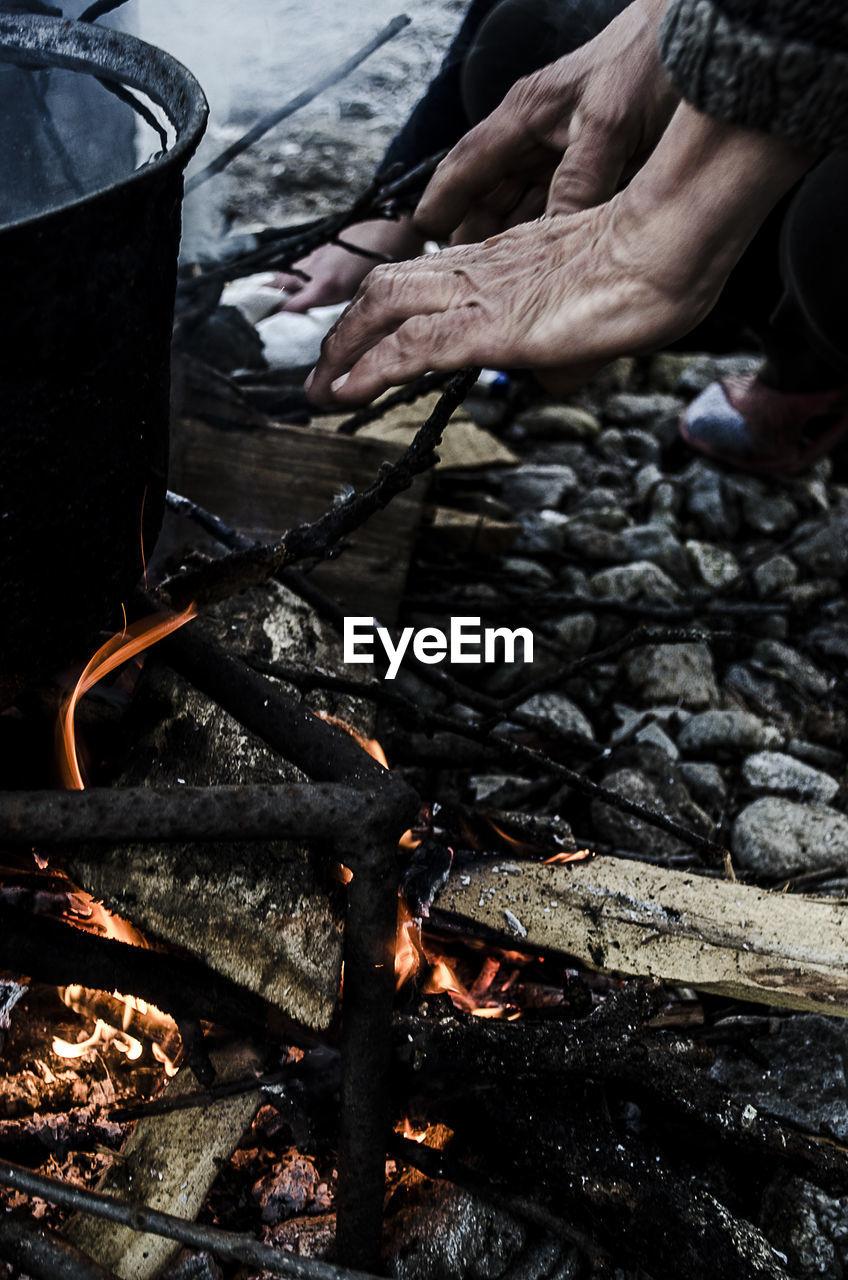Close-Up Of Preparing Food On Chulah