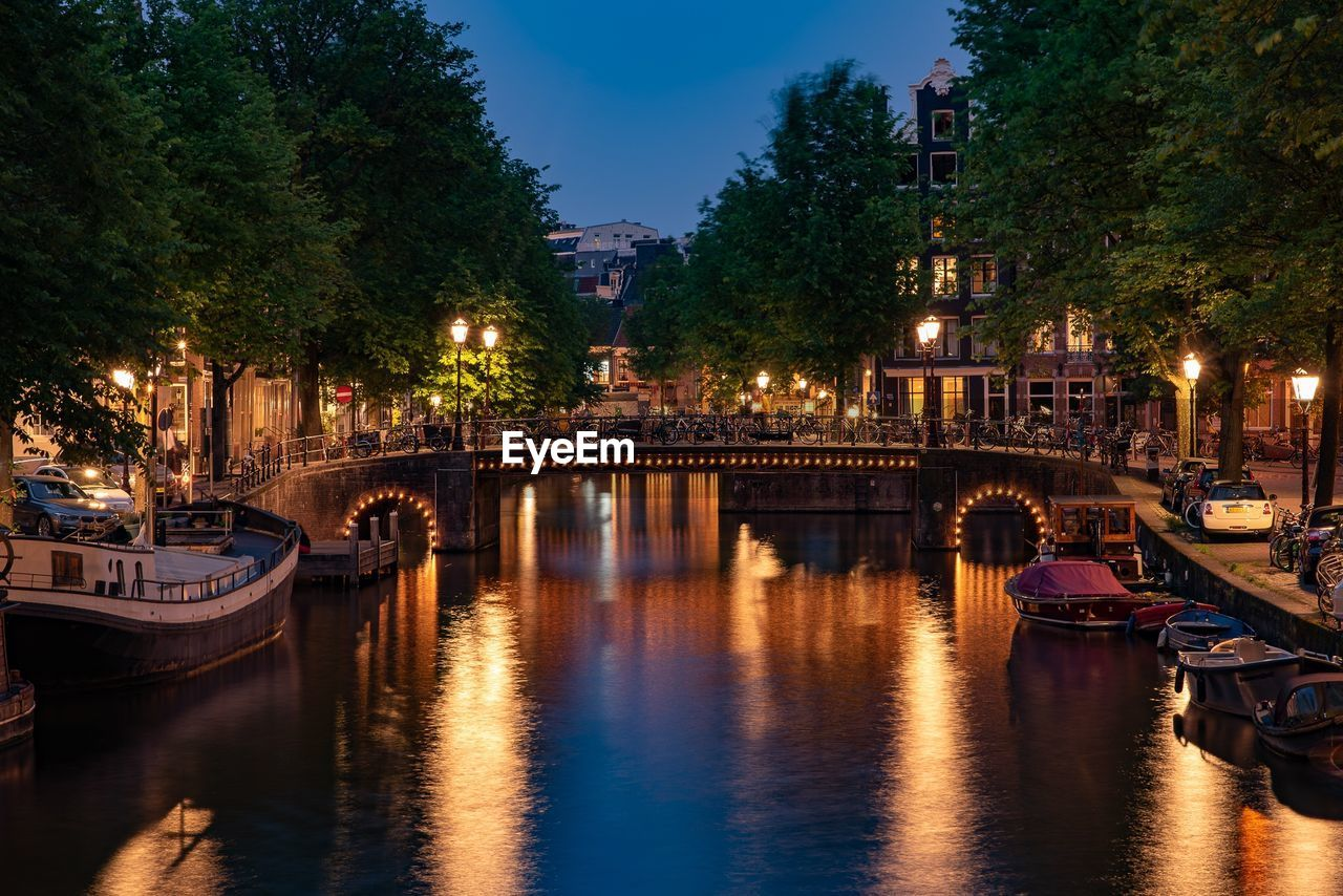 water, transportation, nautical vessel, illuminated, mode of transportation, built structure, architecture, building exterior, reflection, waterfront, city, tree, night, bridge, river, nature, moored, sky, bridge - man made structure, no people, outdoors, passenger craft, arch bridge