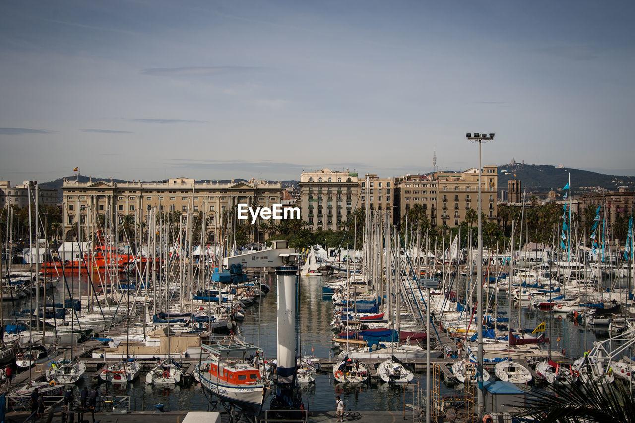 High Angle View Of Boats Moored At Marina