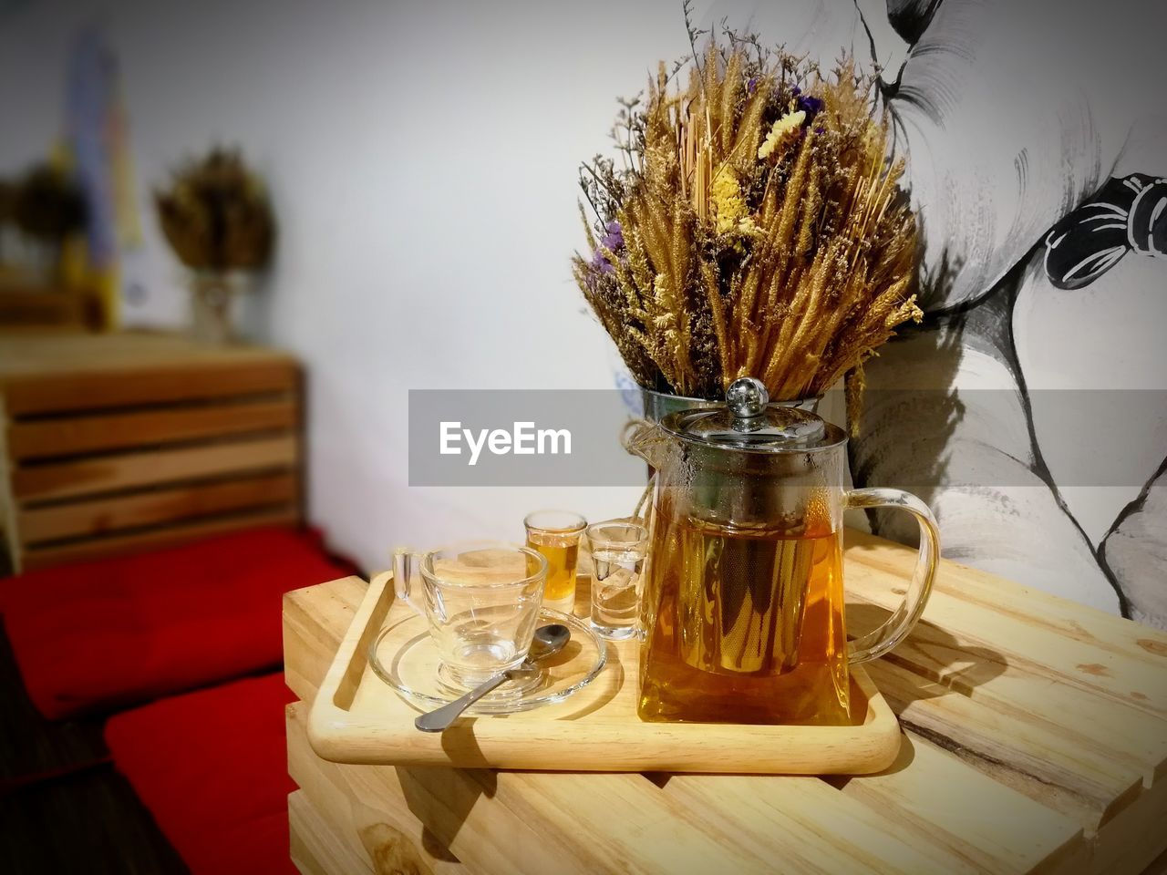 table, drinking glass, indoors, food and drink, wood - material, vase, flower, no people, freshness, drink, food, close-up, day, nature