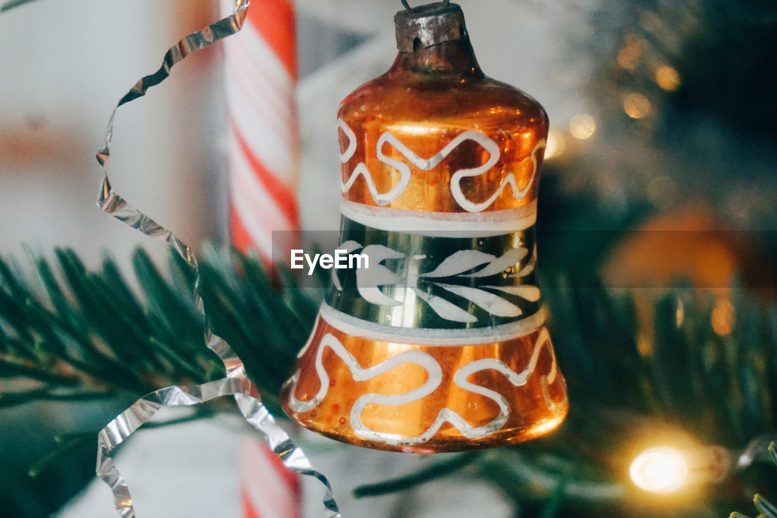 Close-up of christmas decoration on tree
