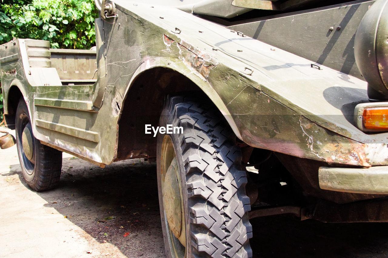 Close-up of damaged vehicle