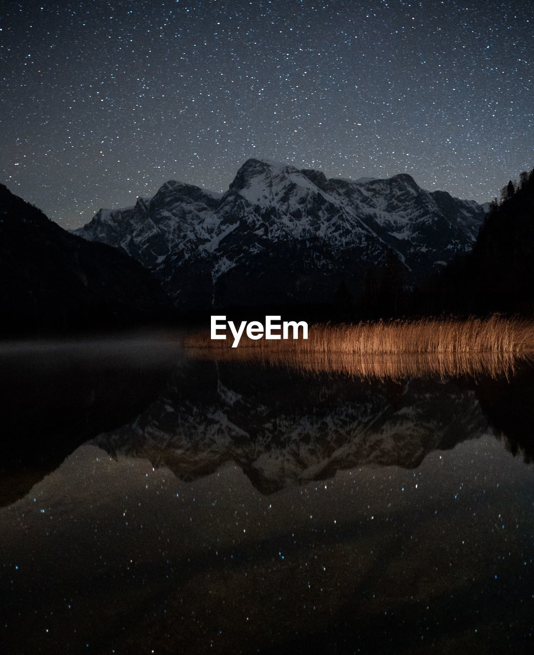 scenics - nature, night, astronomy, star - space, lake, water, beauty in nature, tranquility, sky, tranquil scene, space, reflection, waterfront, star, mountain, star field, galaxy, nature, no people, mountain range, space and astronomy, reflection lake