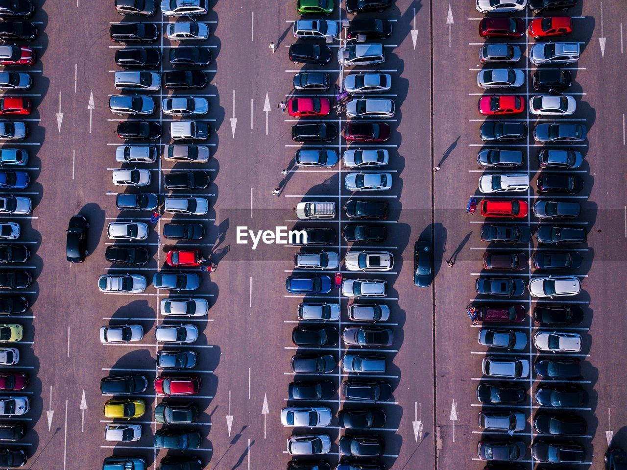 Aerial View Of Cars Parked At Parking Lot