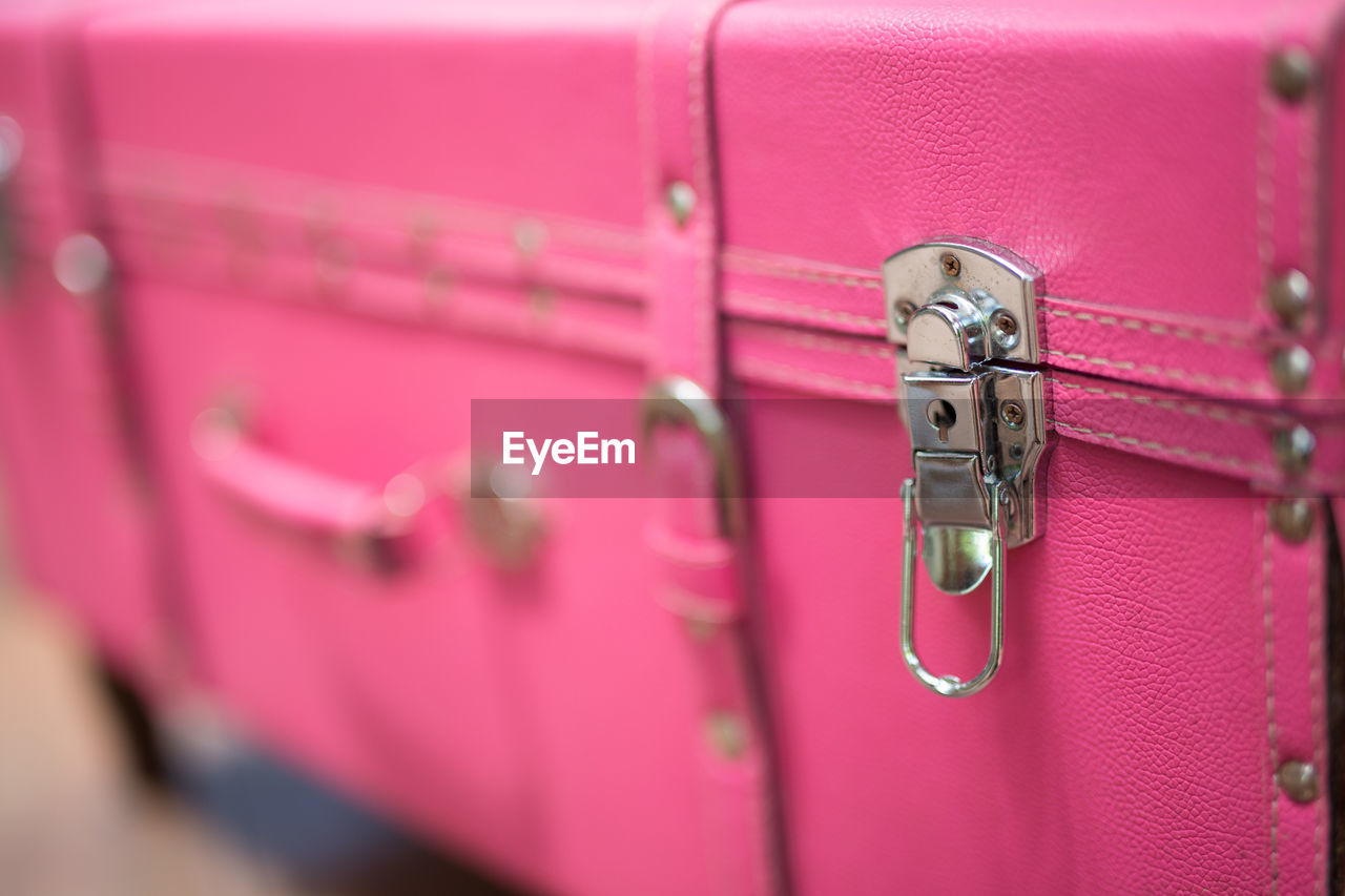 Close-Up Of Pink Suitcase