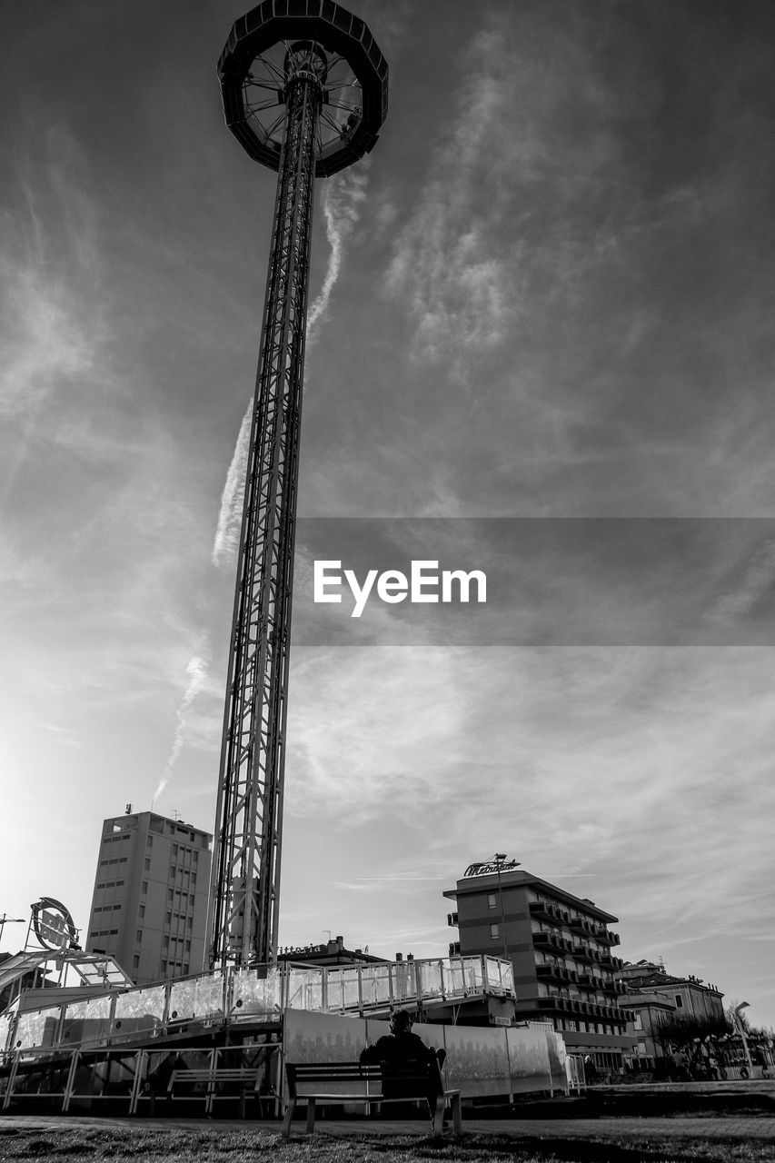 architecture, sky, built structure, building exterior, low angle view, cloud - sky, city, nature, tall - high, day, building, outdoors, no people, transportation, office building exterior, mode of transportation, travel, skyscraper, construction industry, travel destinations