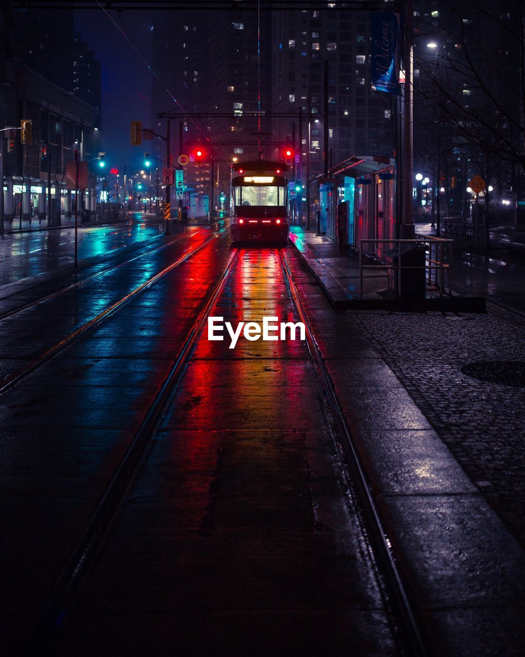 Railroad Car On Tramway In City At Night