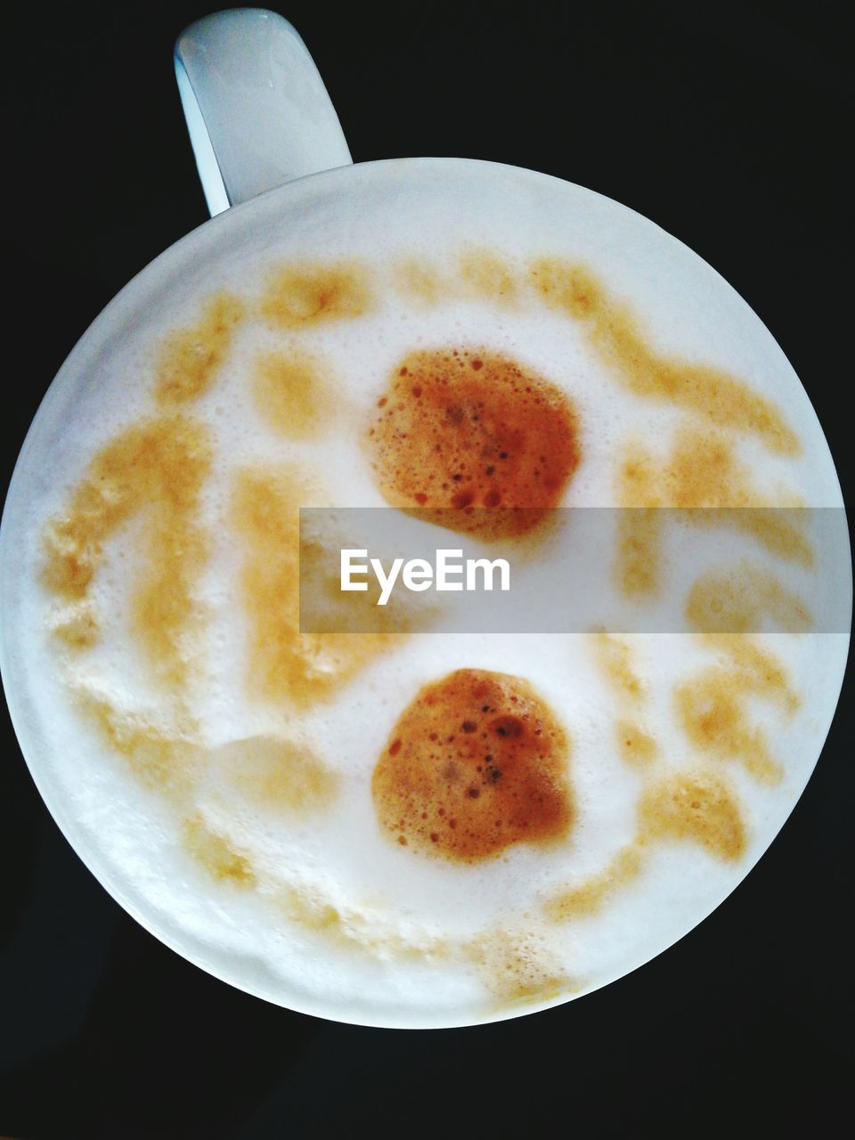 coffee cup, coffee - drink, food and drink, frothy drink, drink, high angle view, table, black background, no people, plate, refreshment, froth art, cappuccino, close-up, freshness, healthy eating, indoors, food, ready-to-eat, day