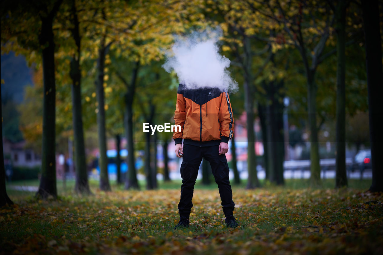 tree, one person, plant, real people, full length, land, nature, autumn, casual clothing, lifestyles, leisure activity, standing, park, day, smoke - physical structure, field, men, park - man made space, front view, outdoors, change, obscured face, leaves