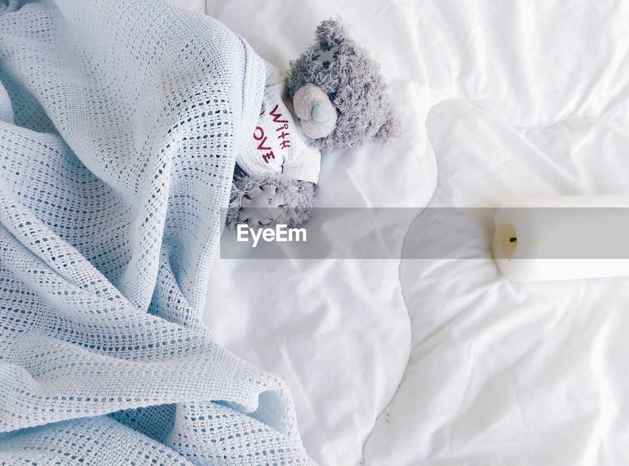 Overhead View Stuffed Toy On Bed
