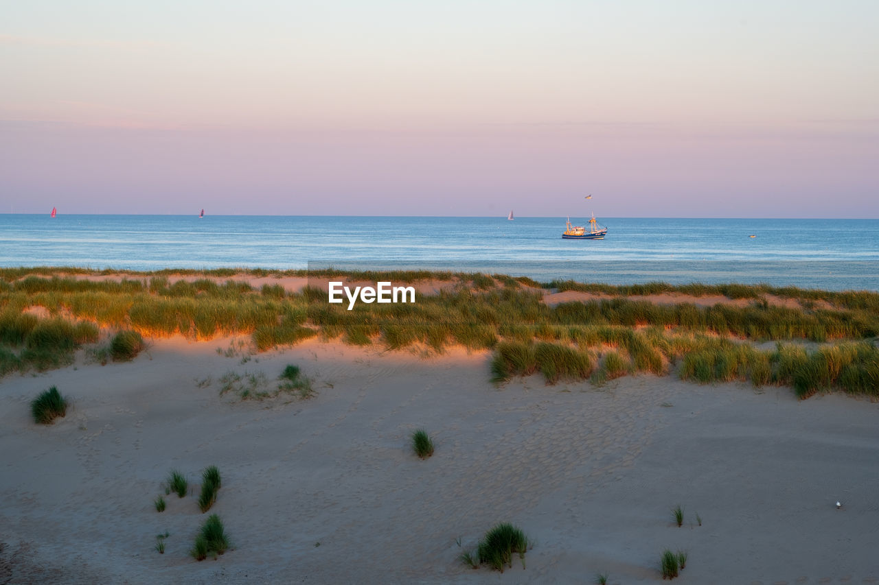 water, sky, sea, horizon over water, horizon, scenics - nature, beauty in nature, tranquil scene, tranquility, nautical vessel, beach, land, nature, non-urban scene, transportation, sunset, idyllic, plant, no people, outdoors, sailboat