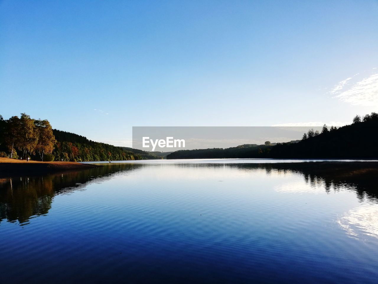water, sky, tranquility, scenics - nature, tranquil scene, beauty in nature, lake, reflection, nature, waterfront, copy space, idyllic, no people, clear sky, non-urban scene, blue, tree, day, outdoors