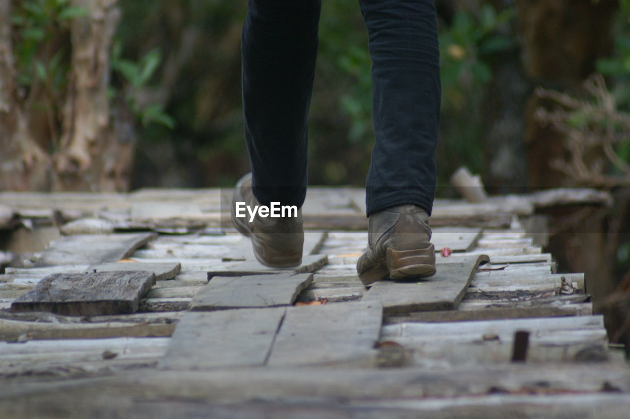 Low Section Of Man Walking On Stepping Stones In Forest