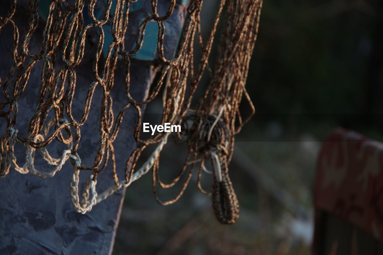 focus on foreground, close-up, hanging, no people, day, nature, selective focus, dry, plant, outdoors, metal, tree, rusty, rope, pattern, sunlight, tied up, old, dried plant, wood - material, complexity