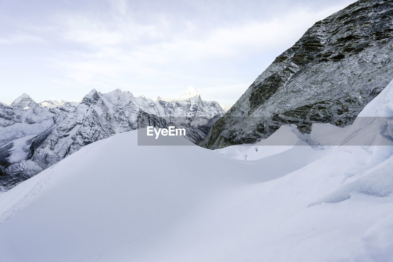 Tranquil View Of Snow Covered Landscape Against Clear Sky
