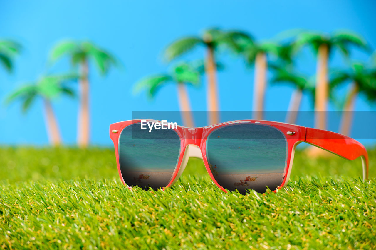 glasses, sunglasses, fashion, plant, land, nature, grass, green color, sky, blue, day, focus on foreground, close-up, no people, personal accessory, outdoors, still life, field, clear sky, sunlight, eyewear
