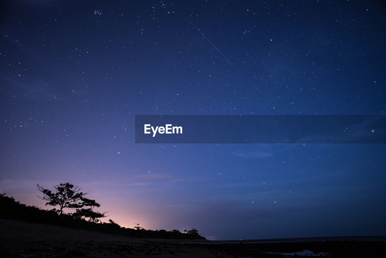 sky, scenics - nature, space, star - space, beauty in nature, night, astronomy, tranquility, tranquil scene, star, idyllic, star field, nature, no people, non-urban scene, tree, land, galaxy, environment, blue, space and astronomy