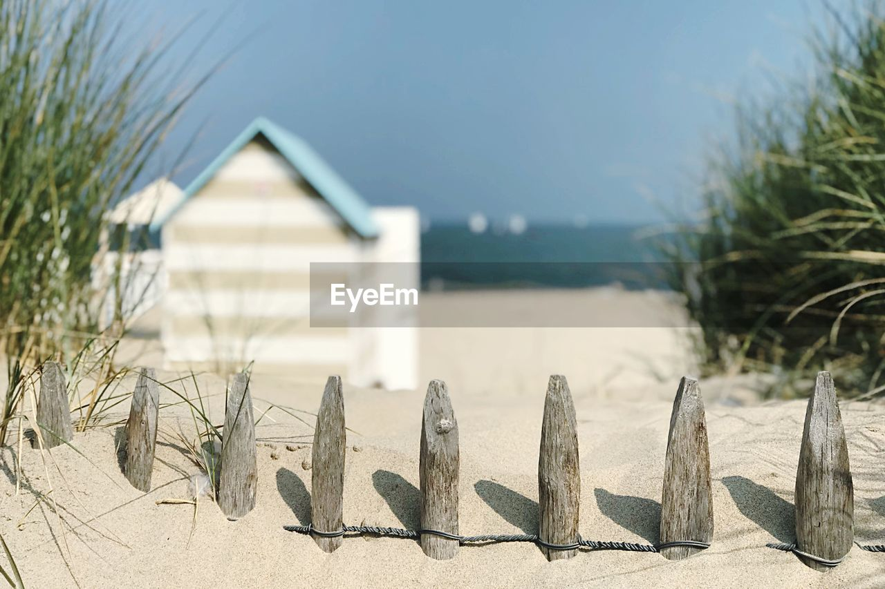 focus on foreground, nature, beach, sand, sunlight, no people, day, built structure, land, plant, architecture, tranquility, sky, outdoors, water, beauty in nature, tranquil scene, grass, close-up, sea, marram grass