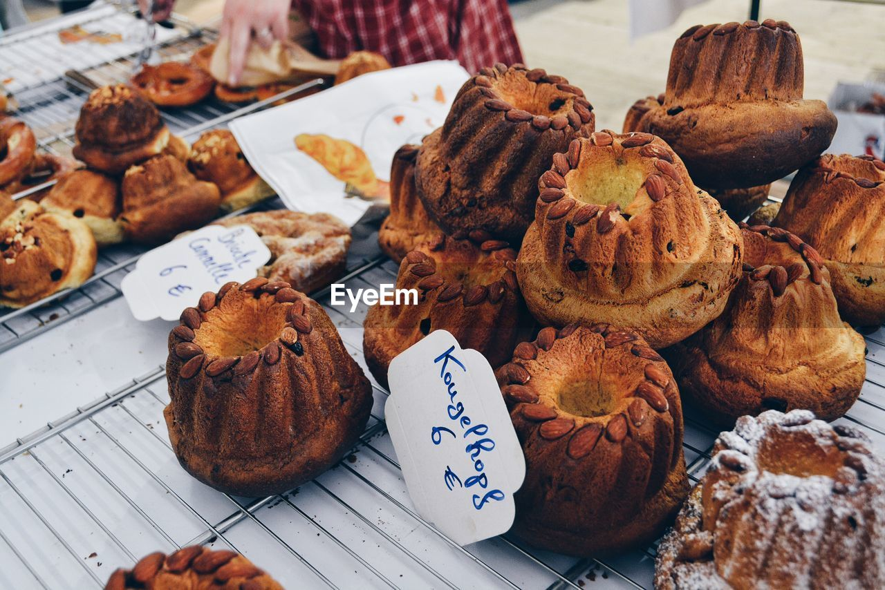 High Angle View Of Almond Muffins At Market Stall