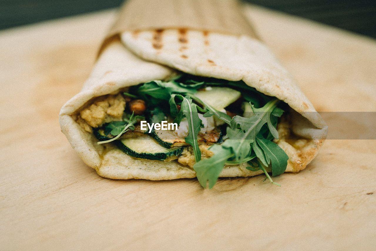 Close-Up View Of Wrap Sandwich