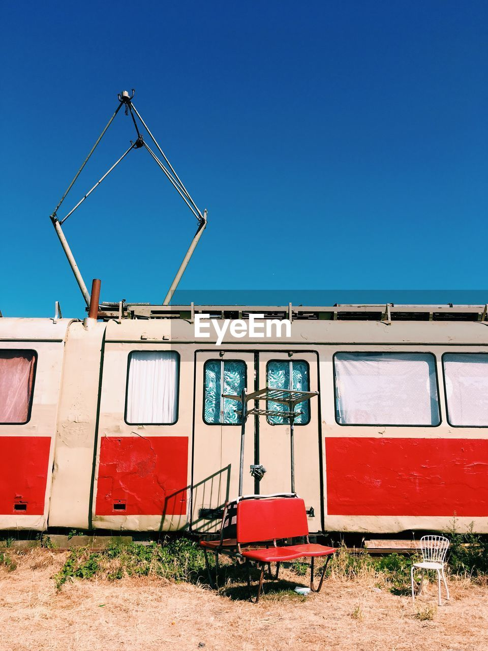 View Of Travel Trailer Against Clear Blue Sky