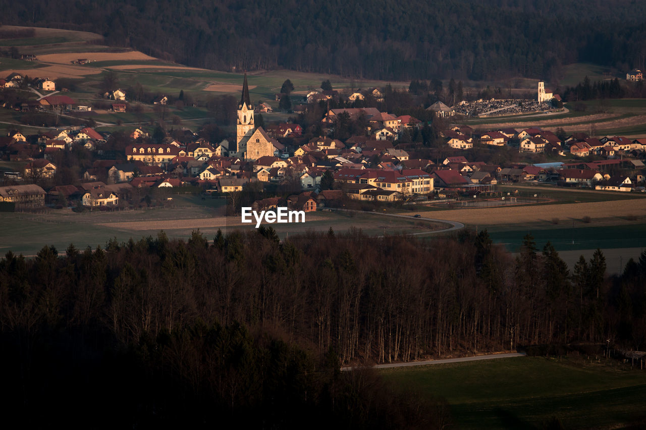 Aerial View Of Town During Sunset