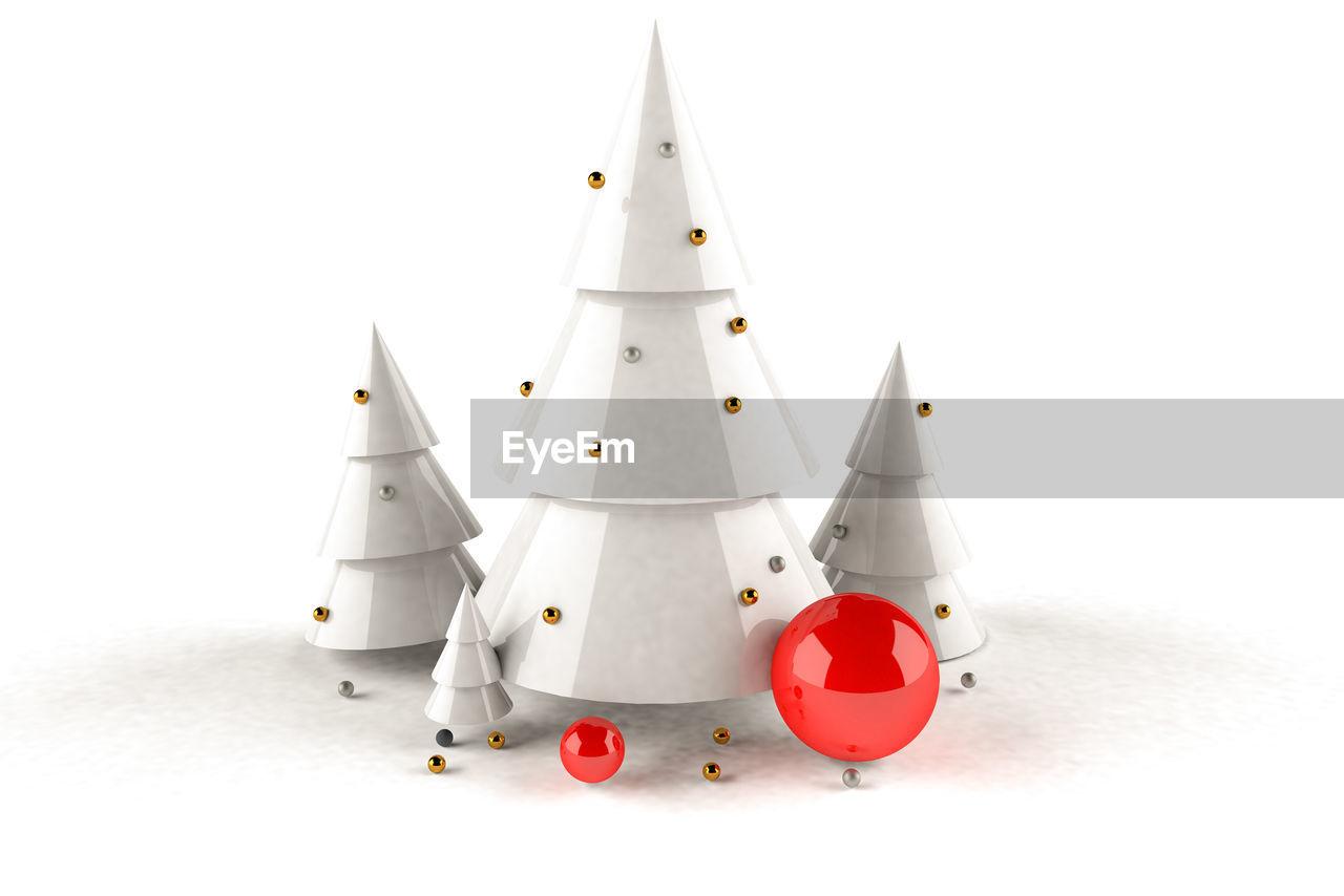 Christmas decoration against white background